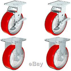 CasterHQ ToolBox Caster Set 6 x 2 Red Poly on Cast Iron 4,800 LBS Capacity
