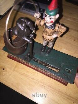 Circus Trick Dog Mechanical Piggy Bank Solid Cast Iron Metal 7+ inches 3 1/2 Lbs
