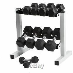 Dumbbell Set 150lb Rack Rubber Hex Weight Set Commercial Fitness Gym Equipment