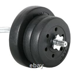 Fitness Barbell Dumbbell Weightlifting Set Work Out Exercises Home Gym Kit 55 LB