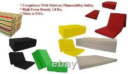 Full Size Brown Tri Fold Foam Bed, Folding Mattress 6 x 54 x 75, 1.8 lbs Density