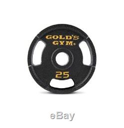 Golds Gym Olympic Weight Set 110 lbs Cast Iron Plates and Bar