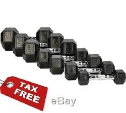 Hex Dumbbells Rubber Coated Weight Set Of 2 Cast Iron Home Gym Chrome 5 60 Lbs