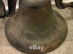 Huge Old Heavy 52lbs Antique Cast Iron/Bronze School Farm Church Cow Dinner Bell