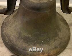 Huge Old Heavy 52lbs Antique Cast Iron Vessel School Farm Church Cow Dinner Bell