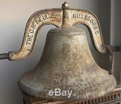 Huge Old Heavy 77Lbs Antique Cast Iron Vessel School Farm Church Cow Dinner Bell