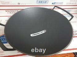 LE CREUSET BLACK CAST IRON WOK PAN 14, NO LID, NEWithOTHER 10 lb