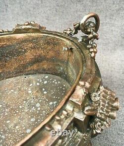 Large antique french jardiniere planter 19th century cast iron copper tone 9lb