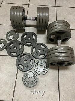 Lot Of (2)x85lb CAP Adjustable Dumbbells 200LB Total Weight Set Cast Iron Plate