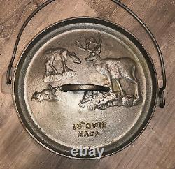 Maca Industrial- Deer Lid- Large cast iron pot/dutch oven 40 Lbs