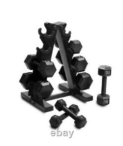 NEW CAP 100 Lb Weight Dumbbell Set. Pairs Of 5,10,15,20 & Rack. Ships Free UPS