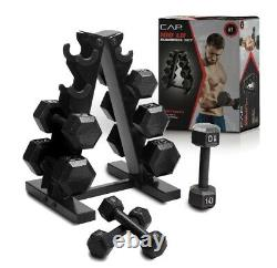 NEW CAP 100 lb Cast Iron Dumbbell Set with Tree Rack 20 15 10 5 Pound Weight 100lb