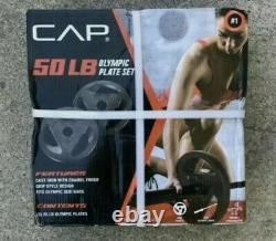 NEW CAP 50LB Olympic Weight Plate Set (2) 25 LB. Plates Cast Iron FREE SHIP
