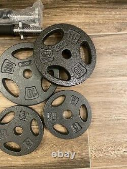 NEW CAP 60lb Adjustable Dumbbell Weight Set. Cast Iron Plates. Two Handles