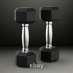 NEW CAP COATED RUBBER HEX DUMBBELLS select-pair/single 5, 10, 20, 30, 50,100LB