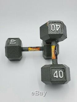 NEW Cast Iron Hex Dumbbells 40 lb Weight set 80 lbs Total FAST SHIP