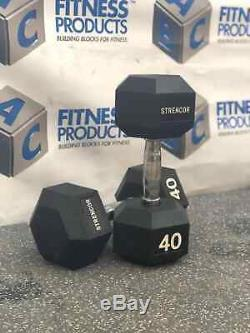 NEW Strencor 40 lb Rubber Hex Dumbbell PAIR (80 lb Set) SAME DAY SHIPPING