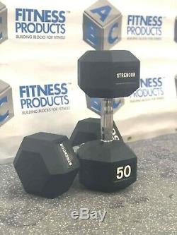 NEW Strencor 50 lb Rubber Hex Dumbbell PAIR (100 lb Set) SAME DAY SHIPPING
