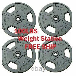 NEW Weider Barbell 25 lbs Weight Plates 4 x 25 lbs Cast Iron 100 lbs total