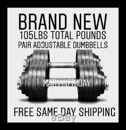 New 100 Lb Pair Adjustable Weight Dumbbells Set Dumbells, FREE SAME DAY SHIPPING
