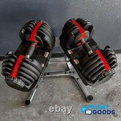 New 105 Lb Adjustable Dumbbells + Stand Like Bowflex SelectTech, In Stock