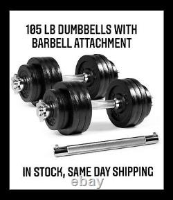 New 105 Lb Pair Adjustable Weight Dumbbells Set Dumbells With Barbell Attachment