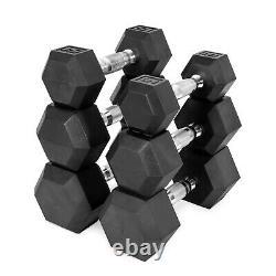 New Cap 5, 10, 20, 30, 40, 50 LB Rubber Hex Dumbbells Set Of 2 select-pair/sing