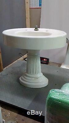 Old Antique Victorian Pedestal Cast Iron Porcelain Oval Top Sink, 2 piece 151lbs