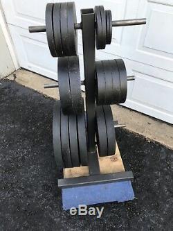 Olympic Weight Plate Set with Rack 365lbs 4x45 2x35 2x25 4x10 4x5 2x2.5 2x1.25