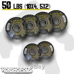 Olympic Weight Plates (50-100lb Sets) Home Gym Exercise Cast Iron Golds Gym NEW