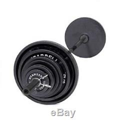 Olympic Weight Set Barbell 300 lbs Cast Iron 7' Bar Workout Strength Training