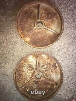 PAIR of Used Vintage Rusty 45 Lb Iron Olympic Weight Plates (90 Pounds Total)