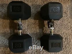 Pair Of 80 lb dumbbells Rubber Hex (160lbs Total) Brand New
