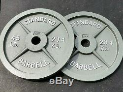Pair of 45LBS Cast Iron Olympic Weight Plates- CAP Olympic Barbell Standard