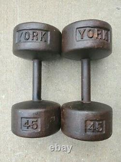 Pair of Vintage York Barbell 45 lb Dumbbells Cast Iron Roundheads