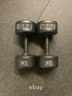 Pair of Vintage York Barbell 45 lb Dumbbells Cast Iron Roundheads, 90 lb Total