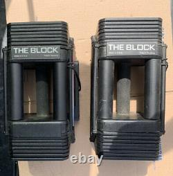 Powerblock THE BLOCK Pair 45 Lbs. Adjustable Stackable Weights Total 90 Lbs. USA