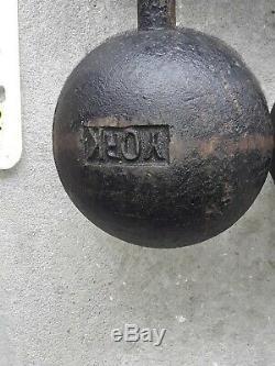 Rare Set of Antique Vintage 65lb York Barbell Globe Dumbbells VGC