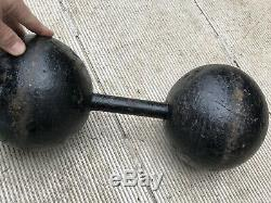 Rare Set of Antique Vintage 80 Lb York Barbell Globe Dumbbells With History