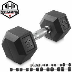 Rubber Coated Hex Dumbbell Hand Weights, 25 lb to 50 Pound