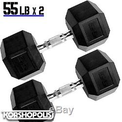 Rubber Hex Dumbbells 10-60 lb PAIRS Free Weights Home Gym Exercise Training NEW