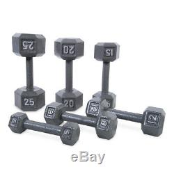 SET OF 2 CAST IRON HEX DUMBBELLS Home Gym Fitness Workout Barbell Weights PAIR
