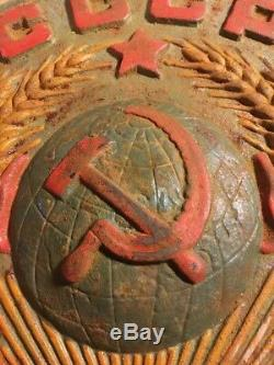 SUPER Rare CAST IRON Soviet Train Border Marker Coat of Arms 13 lb's Locomotive