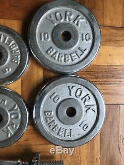 Two (2) 35 Lb YORK Chrome Adjustable Dumbbells 70 Lbs Total New handles FAST