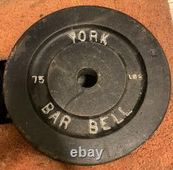 Used 2 Lot Vintage 75 Pound York Barbell Weight Plates (150 lbs total)