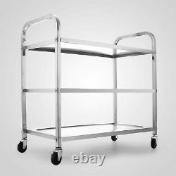 Utility Cart 3 Shelf Utility Cart on Wheels 330Lbs Stainless Steel Rolling Cart