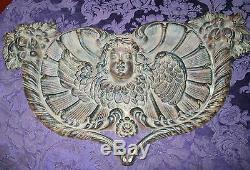 VINTAGE CHERUB ANGEL CAST IRON Repousse Heart PLAQUE 22X14 16LB HEART FLOWERS