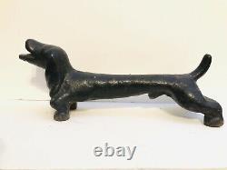 Vintage Cast Iron 20 Dachshund Weiner Dog Sculpture Andiron Door Stop 32 lbs