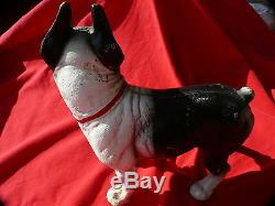 Vintage Cast Iron BOSTON TERRIER DOOR STOP Large 10 Tall x 9 Long Approx 8 lb