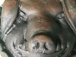 Vintage Cast Iron Pig's head pan Pig's Head Face Cheese Mold Over 7 lbs Heavy